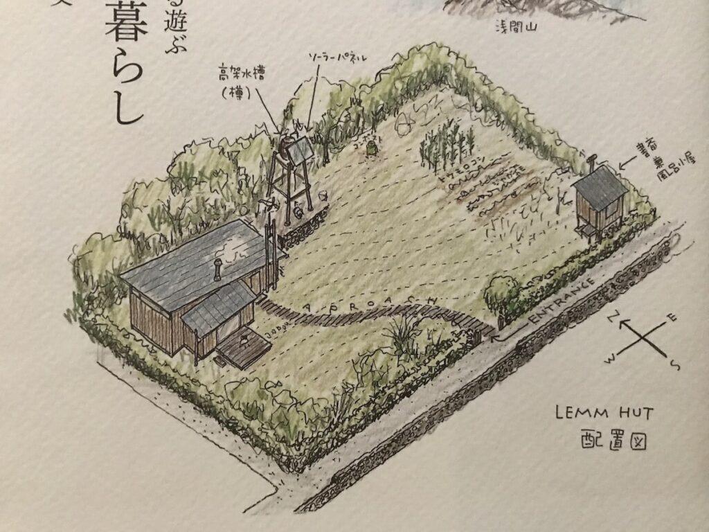 『食う寝る遊ぶ 小屋暮らし』の配置図